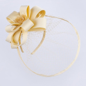 Janeo OPHELIA Fascinator, Classic Layered Double Satin Covered Structured Bows, Centre Sinamay Rose Flower, Prominent Large Net Brim,a softly Structured Style at a amazing price, Five Colour Options