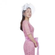 Janeo CORDELIA Fascinator,Wide Layered Satin Bows,Net Veil,Feather Plumes,Sinamay Fabric Base, 6 Stunning Colours;Special Occasion Marriage Attire, Black,Champaign,Red,Electric Blue,Grey & Off White
