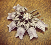 Hand- Painted Lilac Flower Haircomb