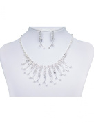Sarahbridal Women's Elegant Rhinestone Wedding Bridal Necklace and earrings Party Evening Jewellery Sets S15021