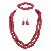 AfricanBeads 2-Row Red Dubai Bridal Coral Jewellery Set,Nigerian Wedding African Coral Beads Jewellery Set