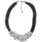 Dress wear silver chunky spiral wrap wire black leather cord fashion jewellery necklace