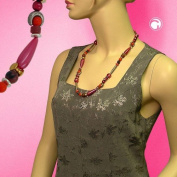 Necklace, Silk Matte-Red, Chocolate, bicolour