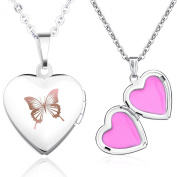 Stayoung Jewellery Fashion Butterfly Engraved Heart Shaped Picture Photo Locket Stainless Steel Women Ladies Girls Pendant Necklace, Two Colours