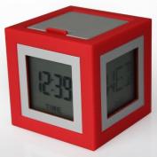 Lexon Cubissimo LR79R1 Alarm Clock LCD 4 Dials Red