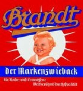 Tin-Plate Sign 8 x 8 CM, Brandt the Markenzwieback Sign 237 / 201