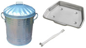 Bakaware 29cm Metal Ash Collect Tray Pan + 15 Litre Ash Tidy Bucket Bin Carrier