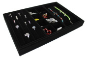 Yudu 4 Piece Velvet -Vorlagebrett with hooks and compartments for Necklaces Jewellery Rings Black