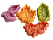 Set of 4 Leaves Shape Cookie Cutters Plungers