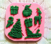 PsmGoods® Xmas Christmas Fondant Silicone Mould Tray DIY Mould for Cake Chocolate Sugar Baking Tools Pink