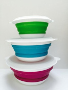 3 collapsible microwavable silicone cereal bowls- exciting colours