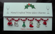Silver Enamel Xmas Wine Glass Charm Set with Red Beads