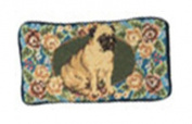 123 Creations C495EG-8.9cm x 18cm . B-Floral Pug Petit-point Eyeglass Holder