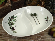 DLusso Designs Rc005 2 Section Dish With Olive Design Pack Of - 2.
