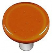 Hot Knobs HK1044-KRA Burnt Orange Round Glass Cabinet Knob - Aluminium Post