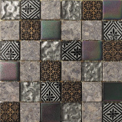 Intrend Tile 2 x 2 Hand Colour Stone And Glass Square Grey With Gold And Sliver Accent
