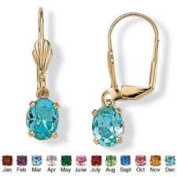 PalmBeach Jewellery 4159812 Oval-Cut Birthstone Drop Earrings in Yellow Gold Tone December - Simulated Topaz