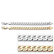 PalmBeach Jewellery 49715 Mens 2 Piece Curb Link Bracelet Set in Yellow Gold Tone and Silvertone 9