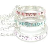 Best Friends Forever RING NECKLACES - Set Of 3 - Red, BLUE & Purple - UK STOCK