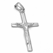 Gallay Pendant, Cross with Jesus, 925 Silver, Indoor Eyelet: 4 x 3 mm, Weight: 1.59 G, Alloy