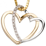 JOBO Pendant Heart 585 Yellow Gold Partly Rhodium-Plated with 14 Diamonds and Brilliants Two-Tone