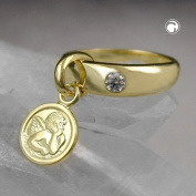Trailer, Angel Christening Ring with 9Kt Gold