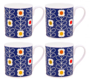 4 x Orla Kiely Linear Stem Mugs - Blue