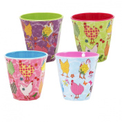 4 Hen Patterned Rice Cups