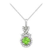 Fine Jewellery Vault UBNPD32190W14CZPR600 August Birthstone Peridot with CZ Halo Pendant in 14K White Gold