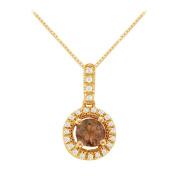 Fine Jewellery Vault UBNPD31781Y14CZSQ600 Fancy Round Smoky Quartz and Cubic Zirconia Halo Pendant in 14K Yellow Gold