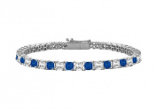 Fine Jewellery Vault UBBRPTSQPR400DS Sapphire and Diamond Tennis Bracelet with 4 CT TGW on Platinum