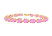 Fine Jewellery Vault UBBR57AGVYPT Bracelets tennis created pink topaz oval set in sterling silver 18K yellow gold vermeil 15ct TGW