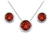 Fine Jewellery Vault UBPDERV20W14GR Garnet Solitaire Stud Earrings and Pendant in 14kt White Gold 3.ct.tgw