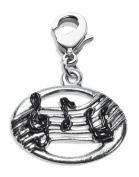 Whimsical Gifts 998S Disc with Musical Notes Charm Dangle in Silver