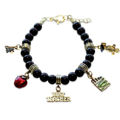 Whimsical Gifts 1402G-BR Teacher Charm Bracelet In Gold
