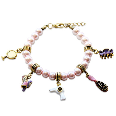 Whimsical Gifts 1403G-BR Beautician Charm Bracelet In Gold