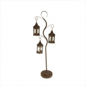 NorthLight 130cm . Rustic Brown Pillar Candle Holder Tree With 3 Decorative Lanterns