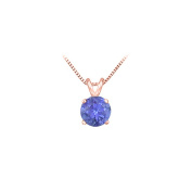 Fine Jewellery Vault UBPD14P4RD050TZ 14K Rose Gold Prong Set Natural Tanzanite Solitaire Pendant 0.50 CT TGW
