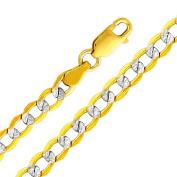Precious Stars SEC0169075BR Two Tone Gold 4.2 mm. Cuban Chain 7.5 in. Bracelet