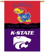 BSI Products 96418 Ncaa Kansas Jayhawks 2-Sided Banner With Pole Sleeve House Divided