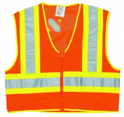 River City 611-WCCL2OXL Luminator Class II Polyester Fluorescent Safety Vest - Orange