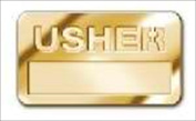 B & H Publishing Group 466826 Badge Usher Cut Out Letters Magnetic Brass