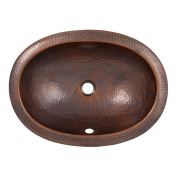 The Copper Factory Solid Hand Hammered Copper Oval Undermount Lavatory Sink in Antique Copper Finish - CF152AN