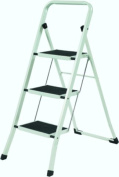 YBMHome 1624-12 3-Step Folding Lightweight Step Ladder Stool Black & White