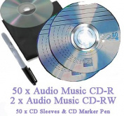 Recordable Audio Music CD-R Pack 50 x 80 minute Blank Music CD (Compact Disc Digital Audio Recordable) + 2 x Audio Music CD-RW + CD Sleeves to fit + CD Marker Pen - Compatible with Steepletone Edinburgh, Lancaster, SMC922, SMC1033 & SMC595 + Inovalley ..