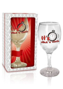 BIRTHDAY GIFT - WINE GLASSES FOR WINE LOVERS! IN GIFT BOX - FUNNY - HEN PARTY - MEN AND WOMEN - It's wine o'clock