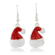 Christmas Fashion Jewellery - Father Christmas Red Hat Earrings - Arrives in a pretty Gift Bag
