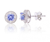 Theia Sterling Silver Round Shaped Pretty Tanzanite Gem Stone with a Diamond Frame Stud Earrings