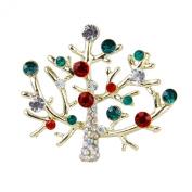 Tree Shape Rhinestone Brooch Pin Gift Unisex Colourful