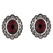 Clip On Earrings Store Victorian Siam Red Stone and Hematite Crystal Oval Clip on Earrings